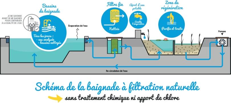 Procédé de filtration de la piscine naturelle